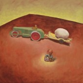 still life with egg truck and monkey