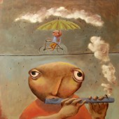 guy with flute and little bike umbrella guy