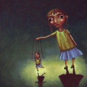 girl with identical marionette