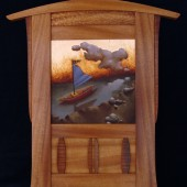 special one of a kind Jim McCarthy frame with landscape of houses, trees, and gold leaf sky